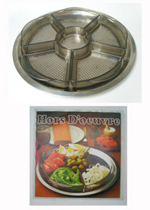 RETRO BOXED DANISH  STAINLESS  STEEL AND PLASTIC SEGMENTED HORS  D ' OEUVRE  TRAY