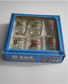 SET OF SIX BOXED 1960s VINTAGE BUS TOT GLASSES