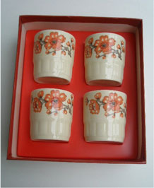 VINTAGE PALISSY 'SPRINGTIME' EGG CUPS IN ORIGINAL BOX