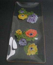 1960s CHANCE GLASS SEGMENTED LONG TRAY IN 'ANEMONE' DESIGN BY MICHAEL HARRIS