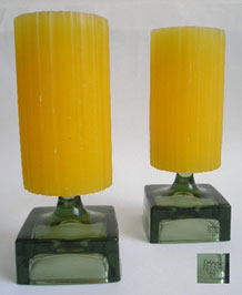 PAIR OF DANSK GLASS PILLAR CANDLEHOLDERS DESIGNED BY JENS QUISTGAARD