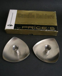 PRICE'S STAINLESS STEEL CANDLEHOLDERS IN ORIGINAL BOX