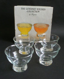 SET OF FOUR RAYWARE SORBET/ SUNDAE DISHES IN ORIGINAL BOX