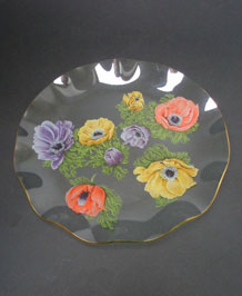 1960s CHANCE GLASS  CIRCULAR FLUTED PLATE WITH ANEMONE PATTERN BY MICHAEL HARRIS